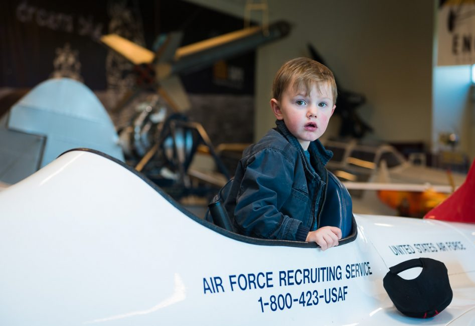 Young boy in a model jet