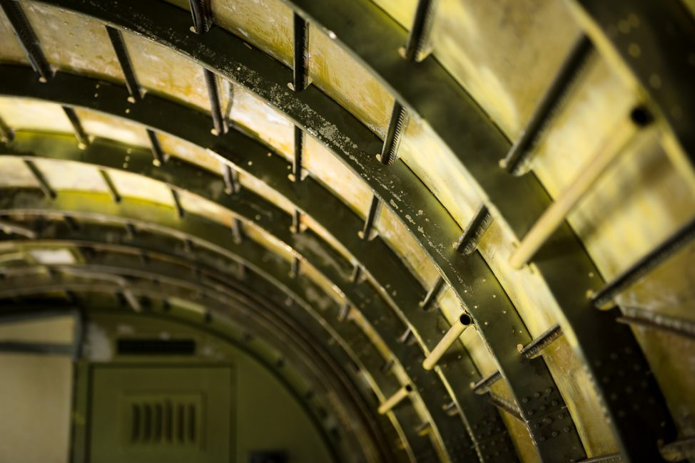 A photograph of the inside of an old airplane fuselage