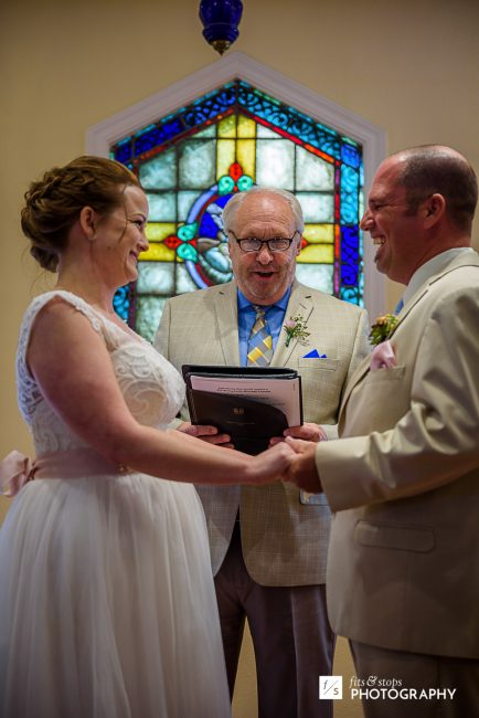 Delivering the vows they prepared themselves.
