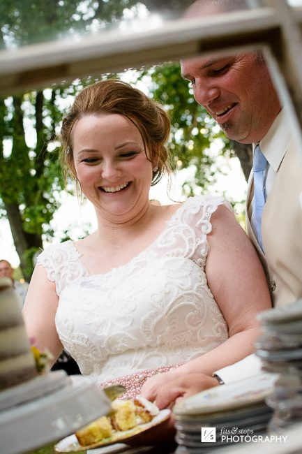 That cake didn't stand a chance against a bride with engraved cake server.