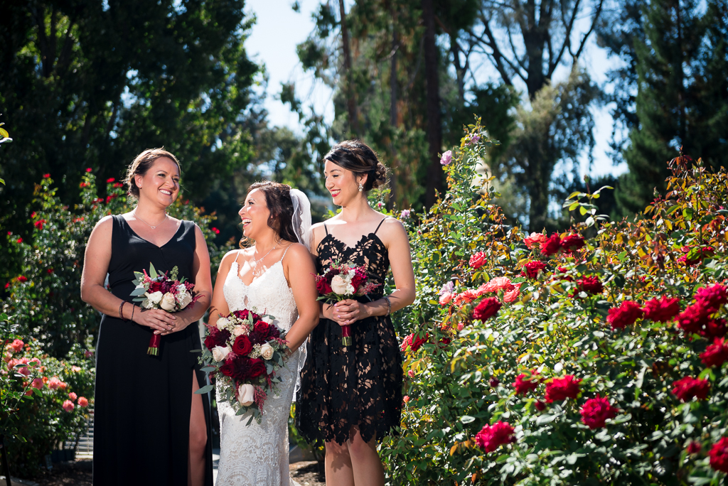 A bride and her bridesmaids chatting with eachother in a rose garden.