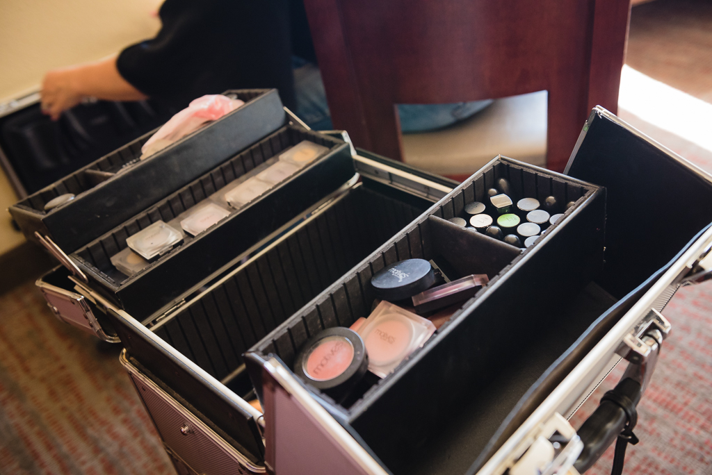 Photography of a makeup kit on the wedding day.