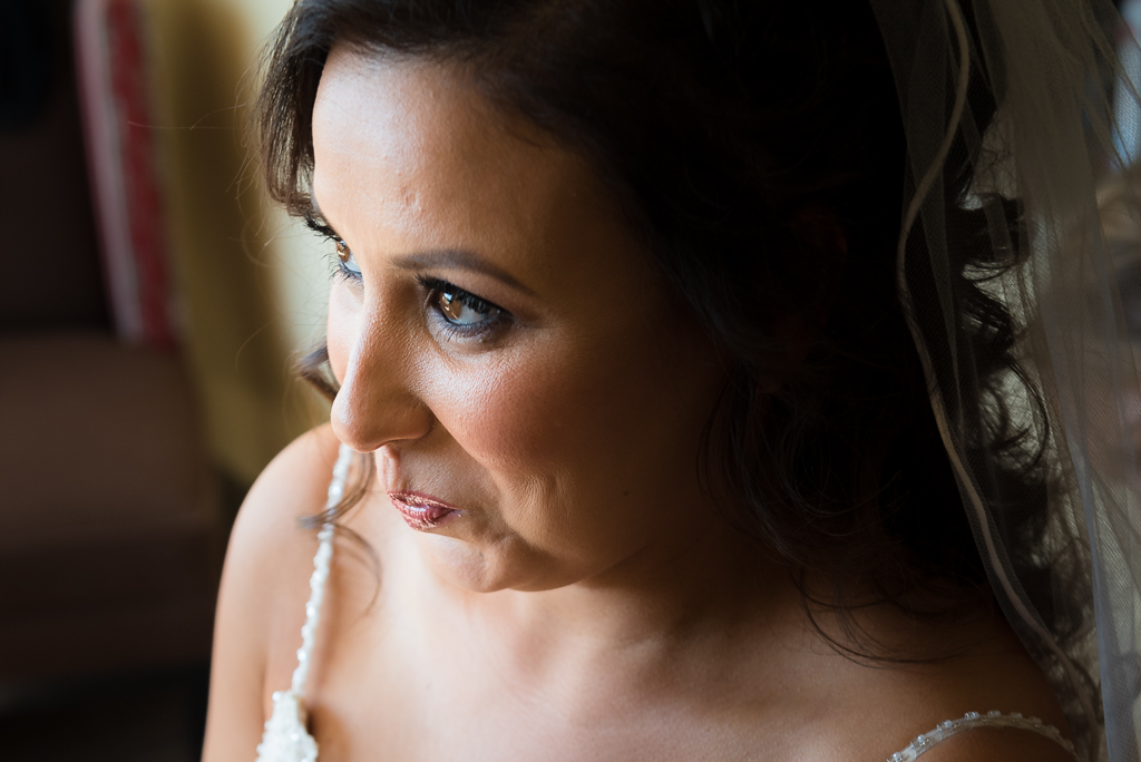 Close up portrait of a bride on her wedding day.
