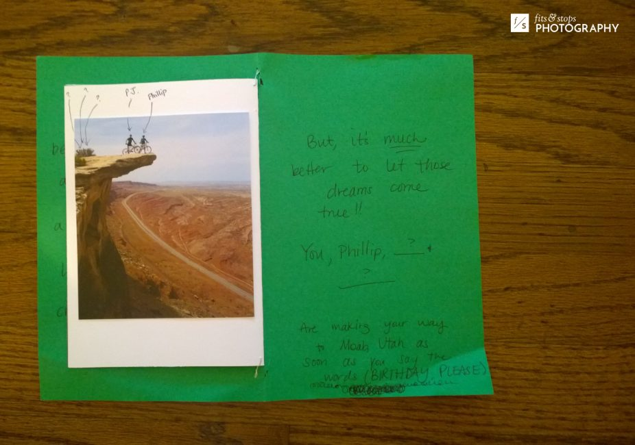 Photo of a handmade birthday card offering a trip to Moab, Utah.
