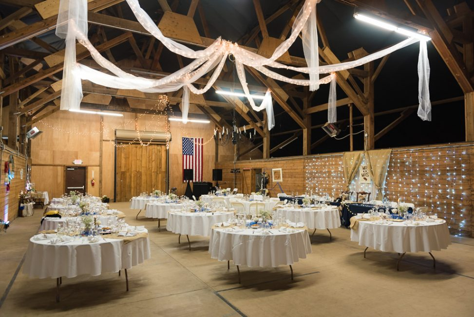 Reception setup for a country wedding at Bayley Barn ion Pilot Hill, CA
