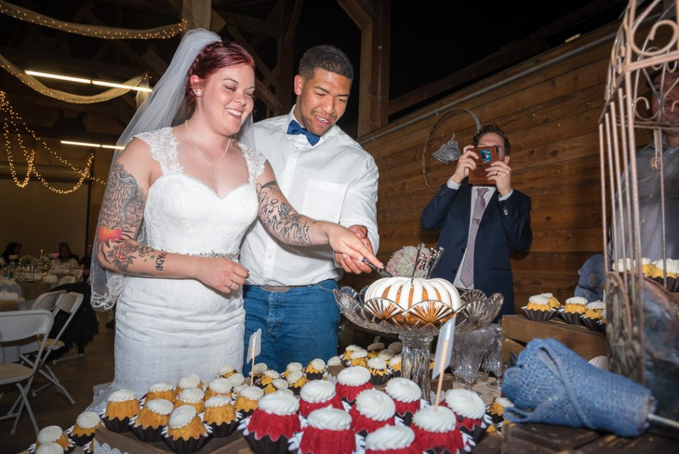 Photograph of bride and groom cutting the cake during their country wedding reception