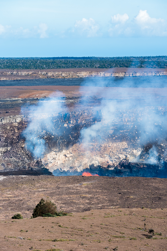 A bit of lava spurts out of Kilauea volacno at Hawaii's Volcanoes National Park.