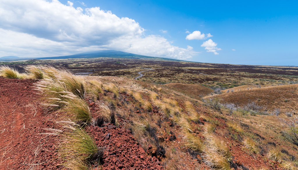 Landscape photograph of the terrain pointing up toward Mauna Loa volcano on Hawaii's Big Island.