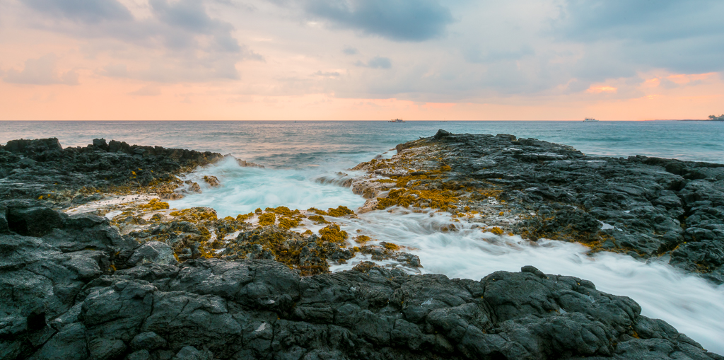 Landscape photo of a seascape along Kailua-Kona on Hawaii's Big Island