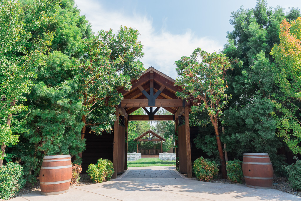 Photograph of the entrance to the Crooked Vine winery Courtyard