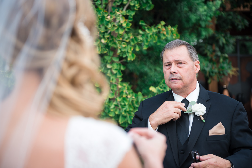 Photograph of a bride's father seeing her in her dress for the first time.