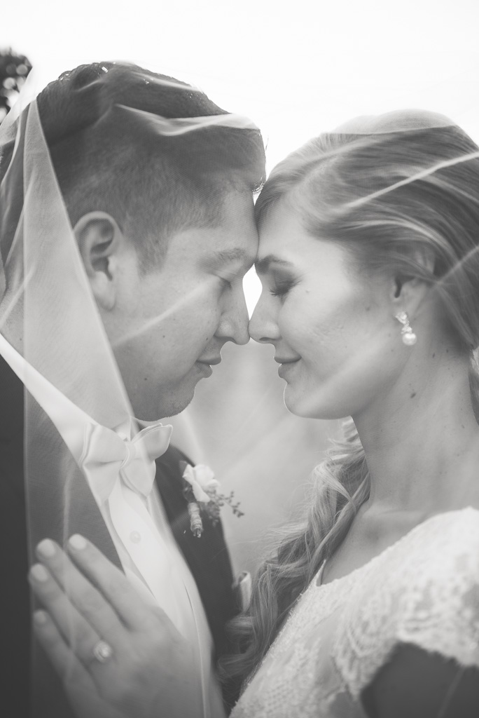 Black and white photograph of a bride and groom nuzzling under a wedding veil.