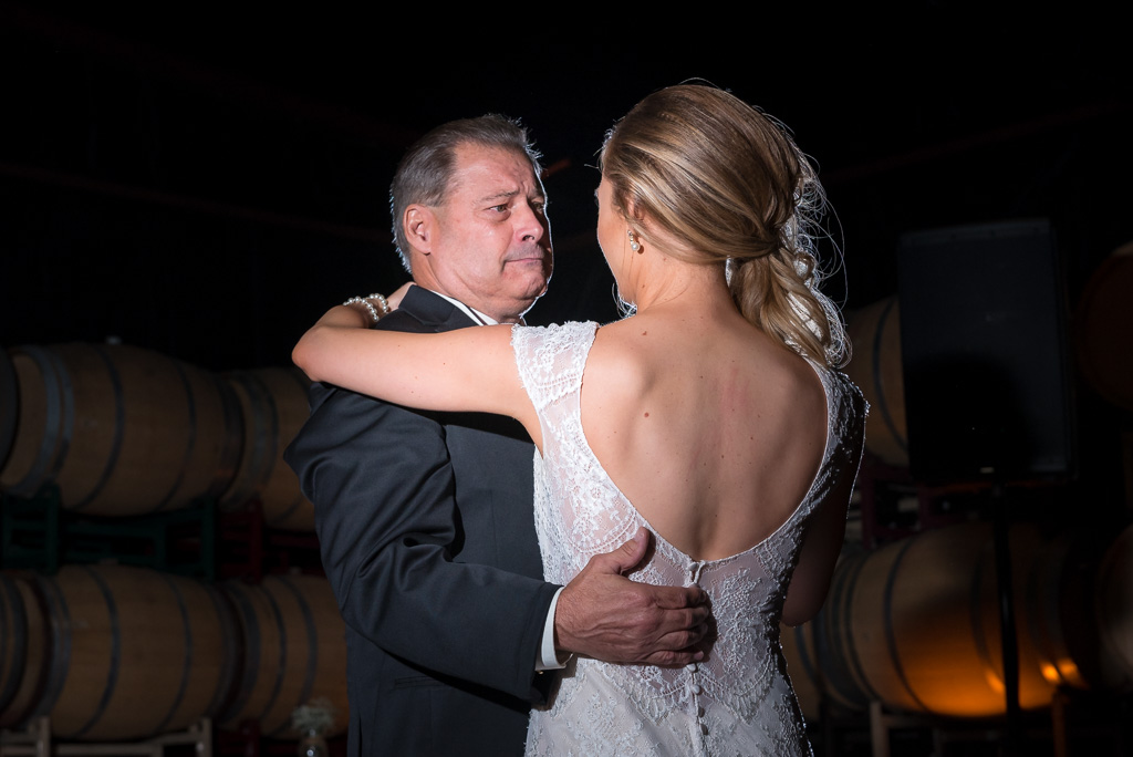 Photograph dancing with his daughter on her wedding day.