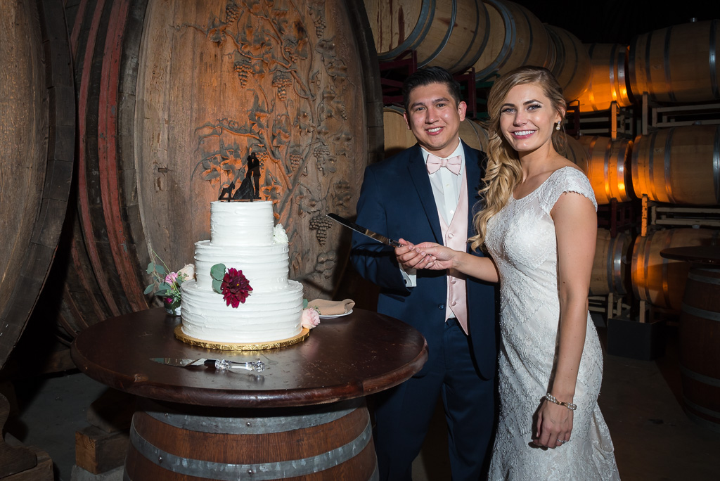 Photograph of a bride and groom preparing to cut their cake.