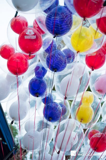Photograph of mickey mouse shaped baloons.
