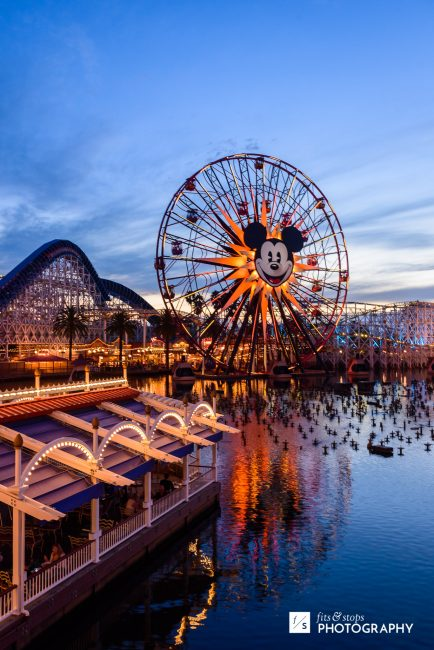 Photo of the sun going down over California Adventure