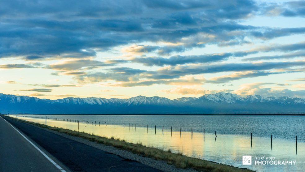 Photograph of a lake and mountains near Salt Lake City, Utah.