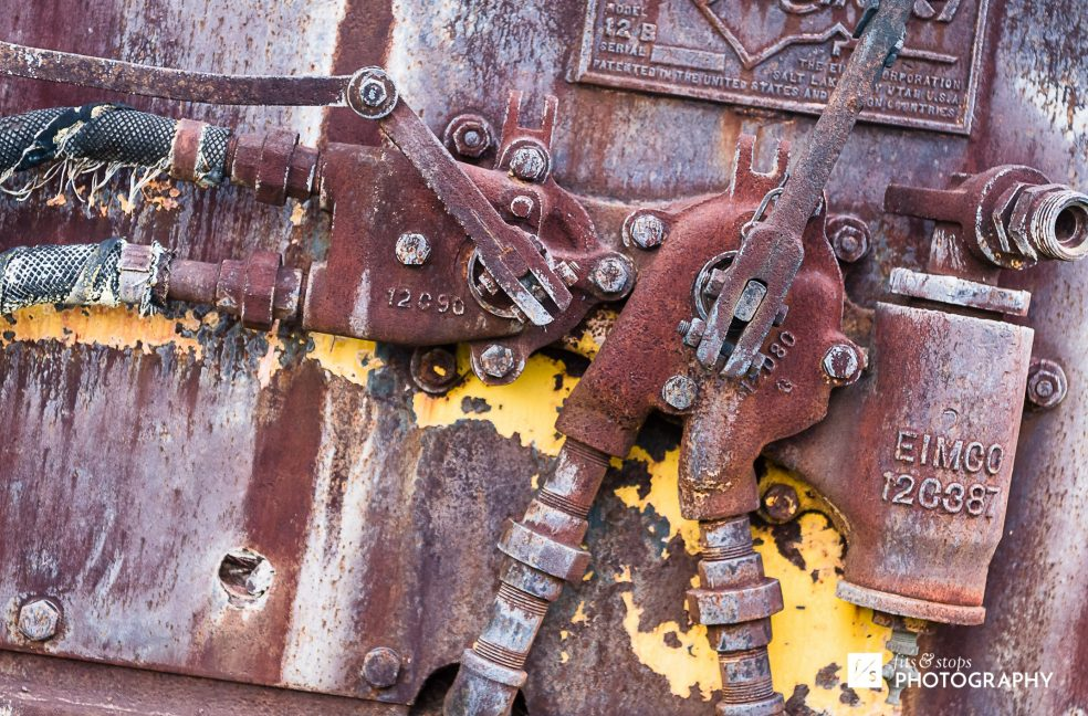 Photograph of the texture of a rusted mining cart