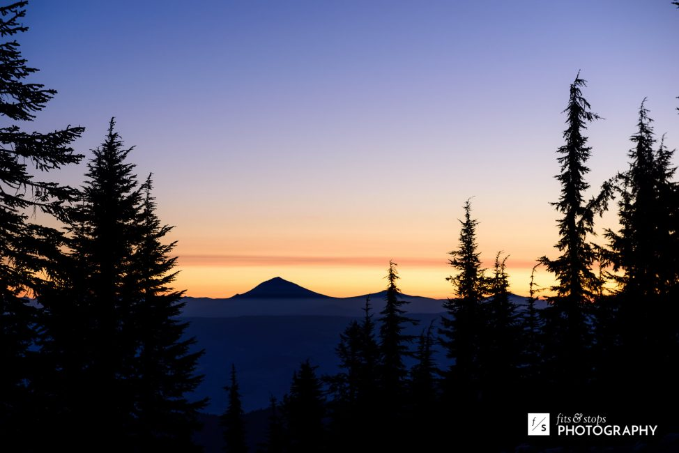 I started up Mt. Ashland at 5:00am on our last day. I spotted this silhouette of Mt. McLoughlin on my hike.