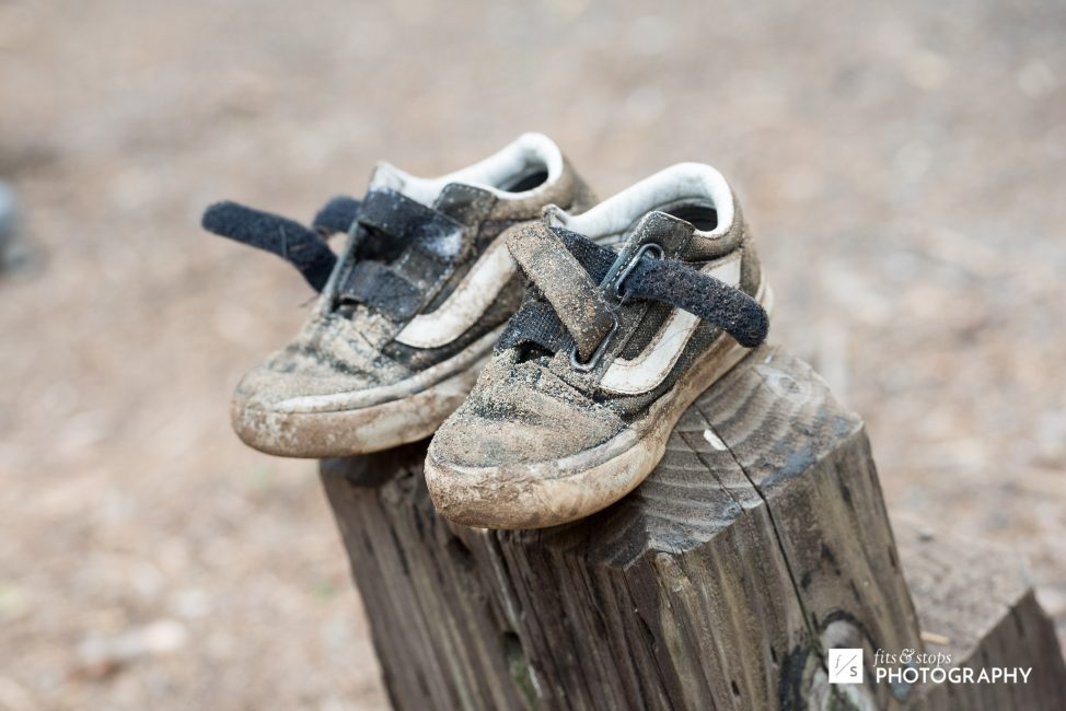 By the next morning, most of the kids' shoes looked like this.
