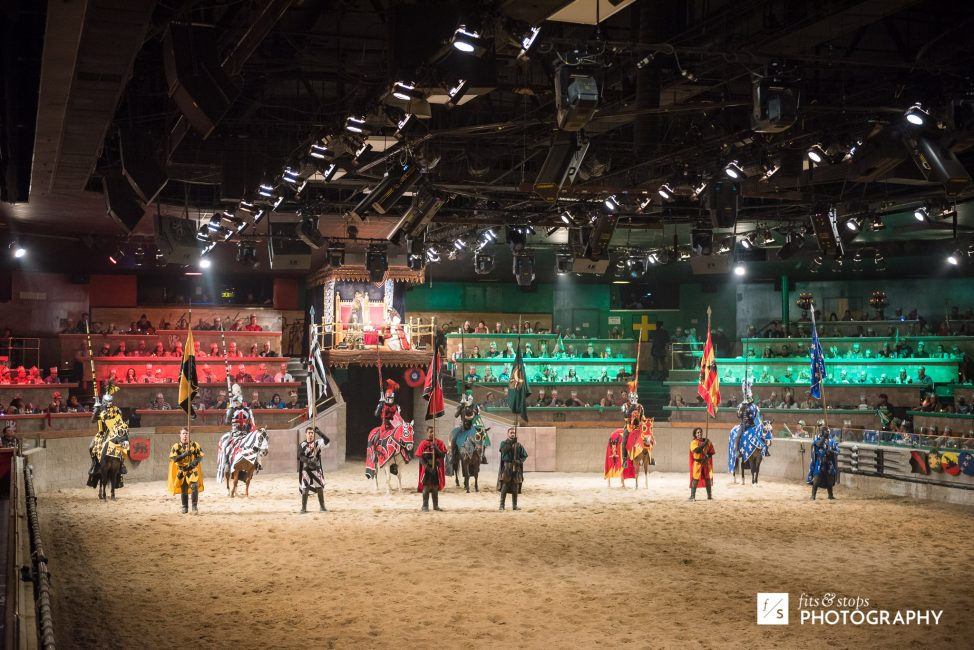 Photo of knights in a horse arena at Medieval Times Dinner Theater.