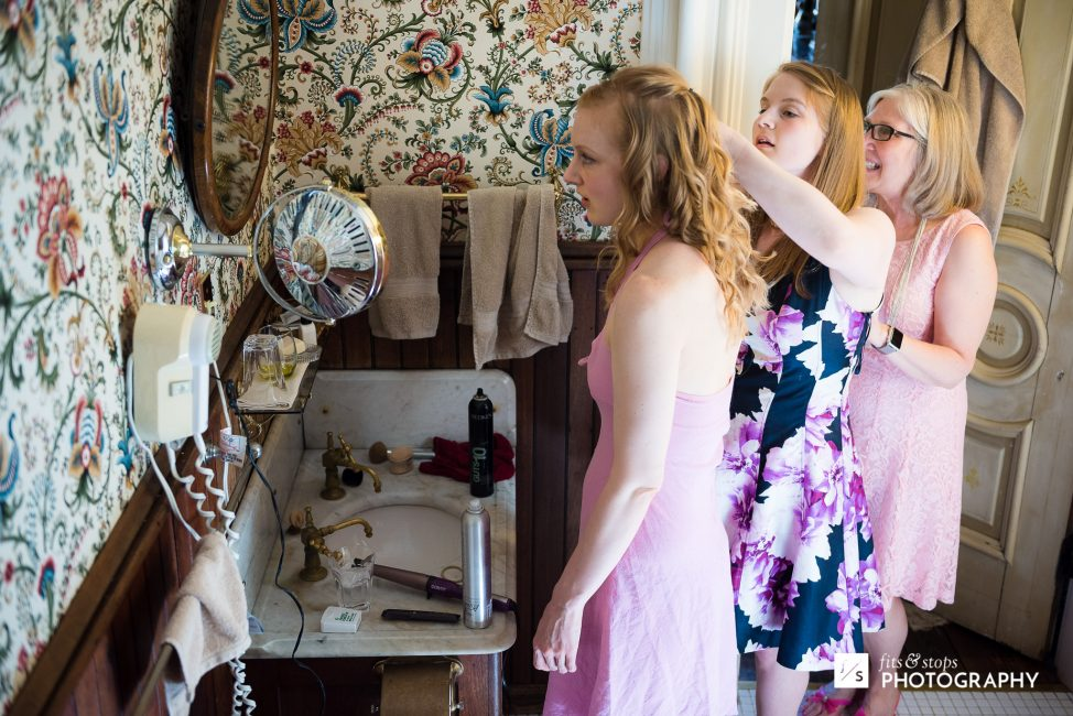 Gretchen turned to her mom and sister when it was time to get her hair in order.