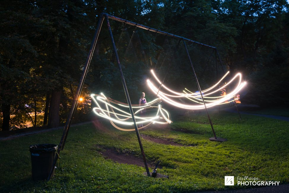 We had hoped to capture some trademark Pennsylvania fireflies when the sun went down. They were cooperating, so instead, we made out own fireflies.