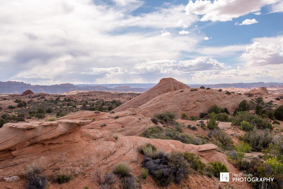 Landscape photograph of the sandstone hills just outside of Moab, Utah.