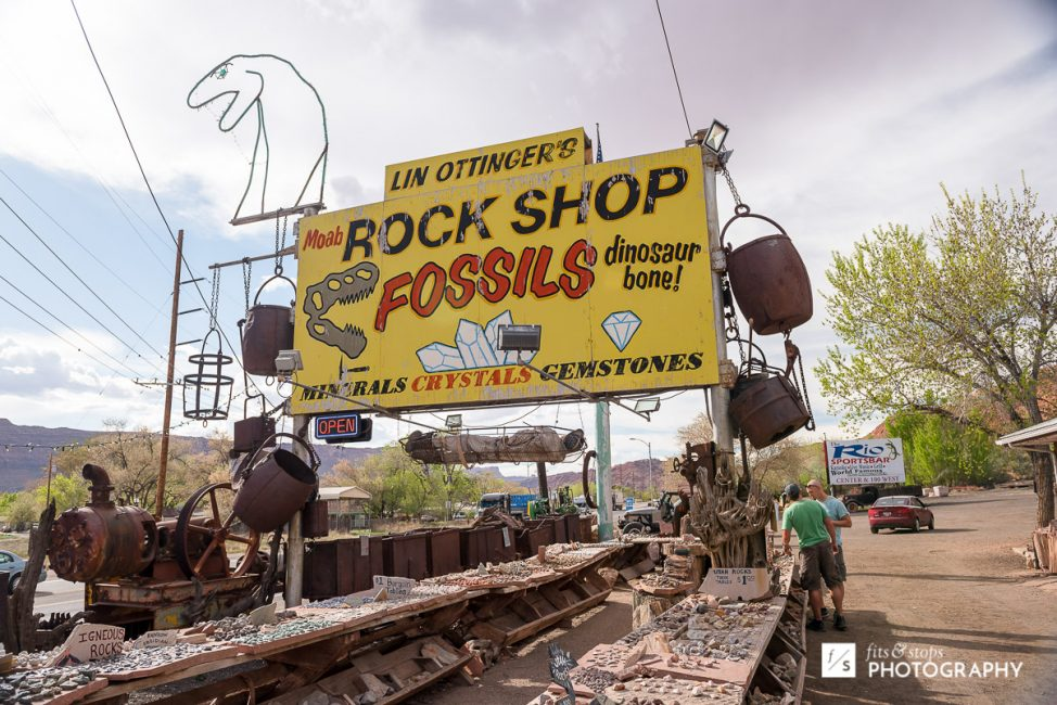 Photography of a famous rock and fossil shop along the main street of Moab, Utah.
