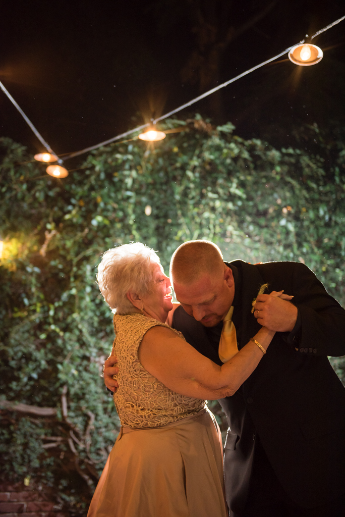 A groom dances with his mother at the Firehouse Restaurant in Old Sacramento.