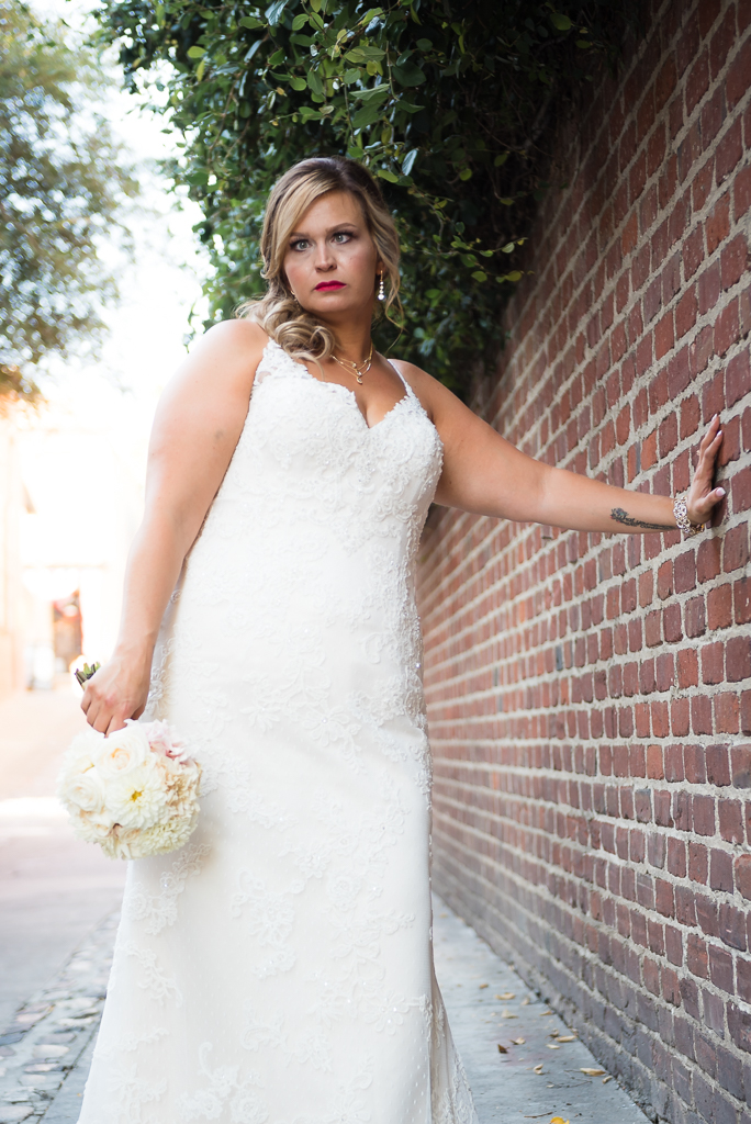 A bridal portrait in Firehouse Alleyway at Old Sacramento