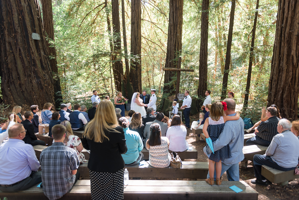Guests and family look on at a couple getting married at a Redwood grove.