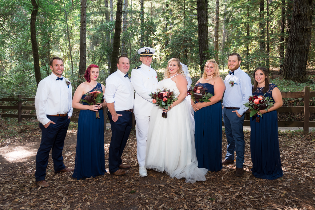 Photo of the bridal party in a coastal redwood forest.