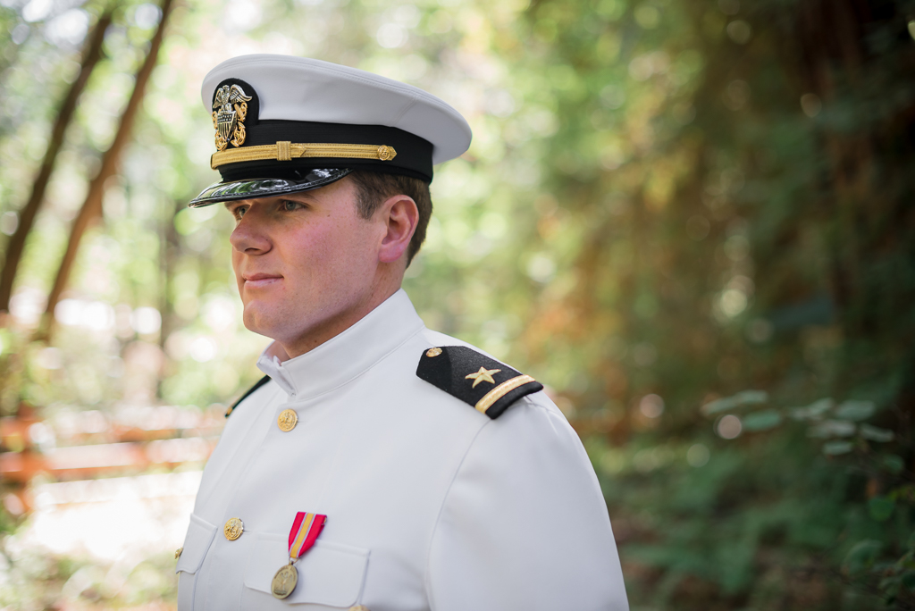 Portrait of Navy Serviceman on his wedding day.