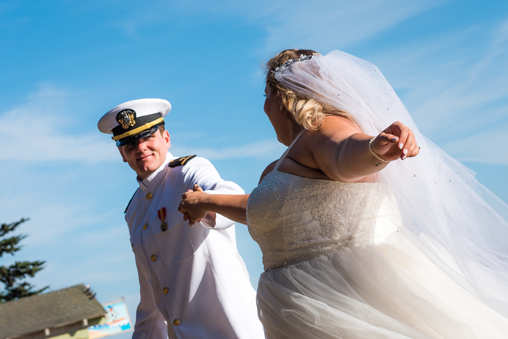Photo of a bride and groom dancing at their wedding ceremony.