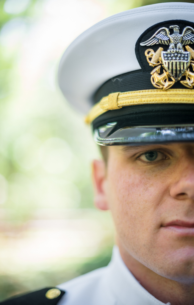 Close up portrait of a Navy officer on his wedding day.